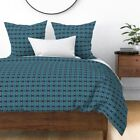 Lime Green Turquoise Blue Dark Blue Mexican Sateen Duvet Cover by Roostery