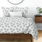 Floral Flowers Roses Mod Floral Modern Floral Sateen Duvet Cover by Roostery image