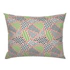 Retro 1980S Geometric Post Modern Abstract Pink Green Pillow Sham by Roostery image
