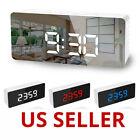 Alarm Clock Large Digital LED Display Snooze Table Clock Mirror Thermometer