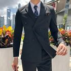 Men's Double Breasted Lapel Blazers 2PCS Suit Groom Business Office Slim Fit New