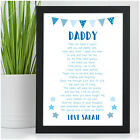 PERSONALISED Birthday Poem Gifts for DADDY DAD GRANDAD from Daughter Son Baby