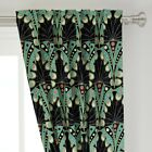 "Peacock Feather Art Nouveau Geometric Deco 50"" Wide Curtain Panel by Roostery"