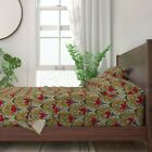 Floral Art Deco Spring Summer Kitchen 100% Cotton Sateen Sheet Set by Roostery image