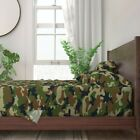 Green Camouflage Woodland Natural 100% Cotton Sateen Sheet Set by Roostery