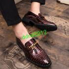 Oxford Mens Round Toe Slip On Print Leather Tassel Dress Formal Casual Shoes New