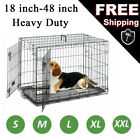 Dog Puppy Pet Metal Cage Black Folding 2 Door Crate With Tray Carrier kennel Cag