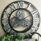 40/50CM EXTRA-LARGE ROMAN NUMERALS SKELETON WALL CLOCK BIG GIANT OPEN FACE~ROUND