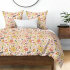 Floral Flower Illustration Pink Florals Flowers Sateen Duvet Cover by Roostery image