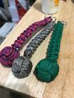 1*  MONKEY FIST PARACORD KEYCHAIN(U-PIC THE COLOR)!MADE IN THE USA! Steel core!!