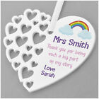 Rainbow Teacher Gifts - Personalised Thank You Heart Plaque Gifts for Nursery