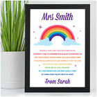 Lockdown Teacher Gifts PERSONALISED Rainbow Teacher Thank You Appreciation Gifts