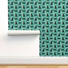 Removable Water-Activated Wallpaper Black Cat Cute Wine Champagne Eco Friendly