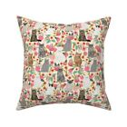Cat Flowers Garden Kitten Kitty Throw Pillow Cover w Optional Insert by Roostery