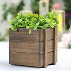 2 Pack   6x6'' Square Wood Boxes DIY Wooden Planter Boxes With Plastic Liner