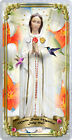 Maria Rosa Mystica in flowers laminated Catholic Holy Card. Statue of Mary