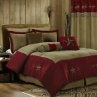 7pcs Burgundy Coffee Oversized Microsuede Embroidery Western Star Comforter Set image