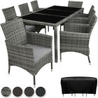 Garden Furniture Set Poly Rattan 8 Chairs Table Glass Patio Outdoor Slipcover