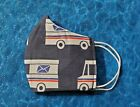 Washable Handmade Fabric Face Mask filter pocket MAIL TRUCK POSTAL WORKER