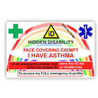 Face Mask Exemption Card Asthma Covering Exempt Asthmatic Adult Child Medical ID