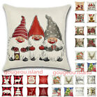 "18"" Uk Christmas Xmas Santa Claus Cushion Cover Pillow Case Home Decor Reindeer"