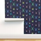Removable Water-Activated Wallpaper Spiders Insects Creepy Science Pop-Art