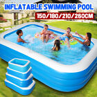 1.5/1.8/2.1/2.6m Inflatable Swimming Pool Garden Outdoor Summer Paddling Pool