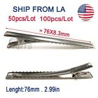 100pcs Alligator Hair Clips Silver Metal Crocodile For Bows Barrette 76mm 2.99in