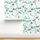 Removable Water-Activated Wallpaper Watercolor Mountain Woodland Bear Green Pink