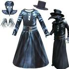 Steampunk Plague Doctor Costume Sets Kids Bird Beak Mask Hat Gloves Outfits US
