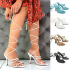 Womens Lace Up Strappy Sandals Ladies Square Toe Curved Block Heel Shoes 3-8