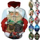 Womens Mens Christmas Long Sleeve Hooded Pullover Loose Sweatshirt Jumper Tops