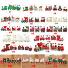 Mini Christmas Decor Wood Train Set Train Model Desktop Cartoon Ornament Toys