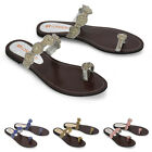 Womens Flat Ring Toe Post Sandals Ladies Diamante Flip Flops Mule Shoes Size 3-9