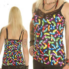 BLACK NEON JELLY BEANS STRAPPY VEST TOP CAMISOLE GOTHIC ALTERNATIVE SIZE 12-18