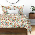 Pineapple Modern Mod Retro Fruit Pattern Fruity Sateen Duvet Cover by Roostery