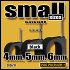 Black Round Nail Mount Tacks Wire Cable Flex Lead Clamps Clip Clips...