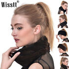 Women Winter Warm Real 100 Fur Knitted Elastic Scarf Infinity Cowl Scarves 2022