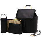 PU Diaper Bag Backpack Leather Nappy Insulated with Changing Pad Bottle Warmer