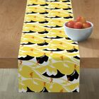 Table Runner Mountain Hike Yellow Hikers Hiking Art Deco Black And Cotton Sateen