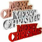 🎄merry Christmas Glitter Sign Xmas Decorations Home Free Standing Plaque Uk