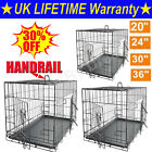 Dog Cage Puppy Pet Crate Carrier - Small Medium Large S M L XL XXL Metal - Black