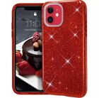 For iPhone 12 PRO Max 12 Mini 11 C/ase Hard Rubber Clear Glitter Bling sparkle