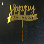 Acrylic Happy Birthday  Cake Topper Dessert Cupcake Flags Baking Party Decors
