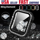 For Apple Watch Series 4 5 6 SE Diamond Bling Hard Snap On Case Screen Protector