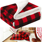 Holiday Christmas Theme Fleece Throw Blanket Sofa Couch Soft Winter Red Plaid US