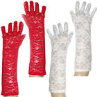 WHITE or RED LACE LONG GLOVES PARTY ALTERNATIVE GOTHIC FANCY DRESS