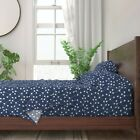 Atomic Retro Geometric Blue Navy 100% Cotton Sateen Sheet Set by Roostery