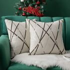 MIULEE Pack of 2 Christmas Decorative Throw Pillow Covers Woven Textured Chenill