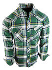 Flannel Plaid Shirt Mens Western Snaps Pockets 8 Cool Muted Colors Long Sleeve B